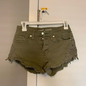 High waisted olive denim shorts